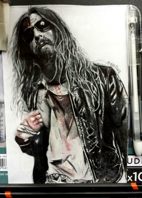 ROB ZOMBIE W/ graphite and pen