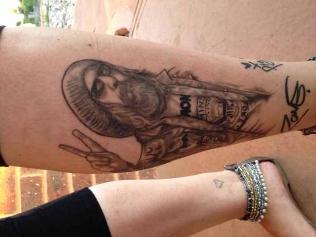 Rob zombie tattoo I did for my ex wife from when she met them in Melbourne would love to get it on Facebook pls I've even done one of john5 for her