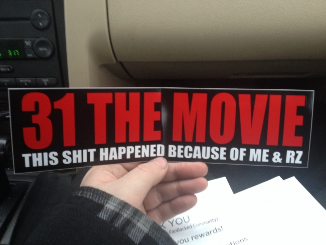 Rob zombie 31 bumper sticker