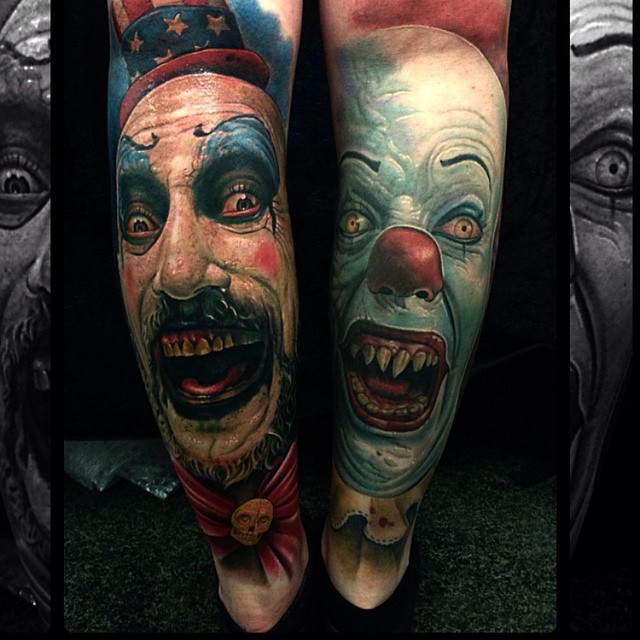 My Cpt. Spaulding and Pennywise tattoo